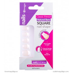 Uñas postizas Invogue French Bare Square